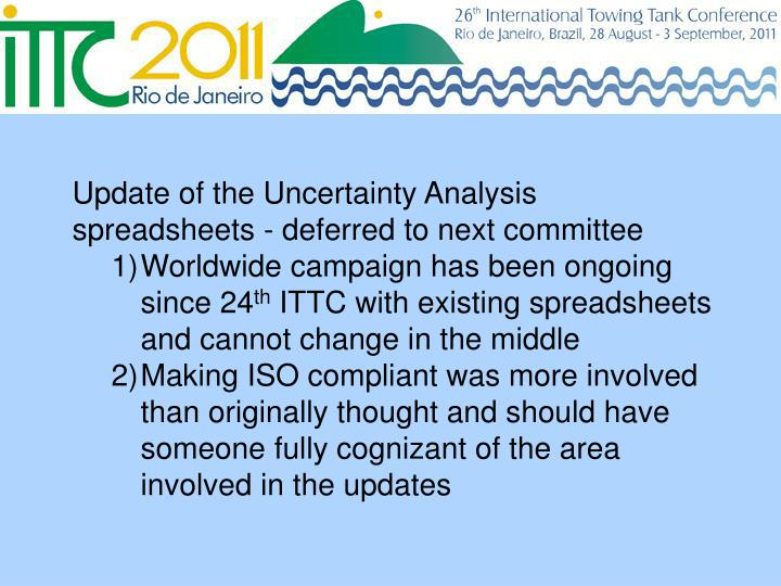 Update of the Uncertainty Analysis spreadsheets - deferred to next committee