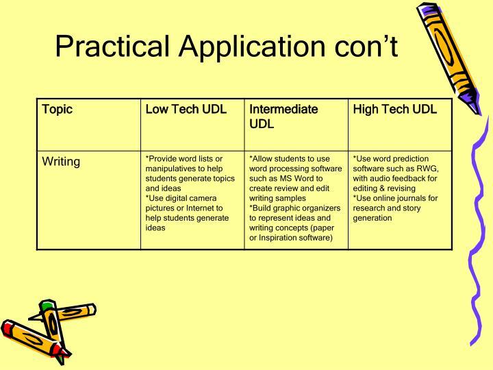 Practical Application con't
