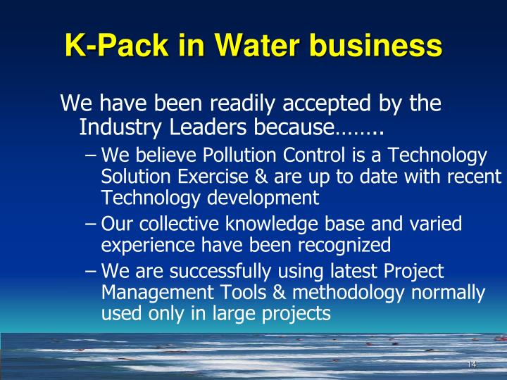 K-Pack in Water business