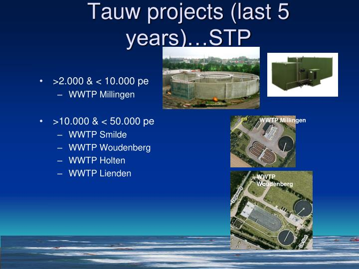 Tauw projects (last 5 years)…STP