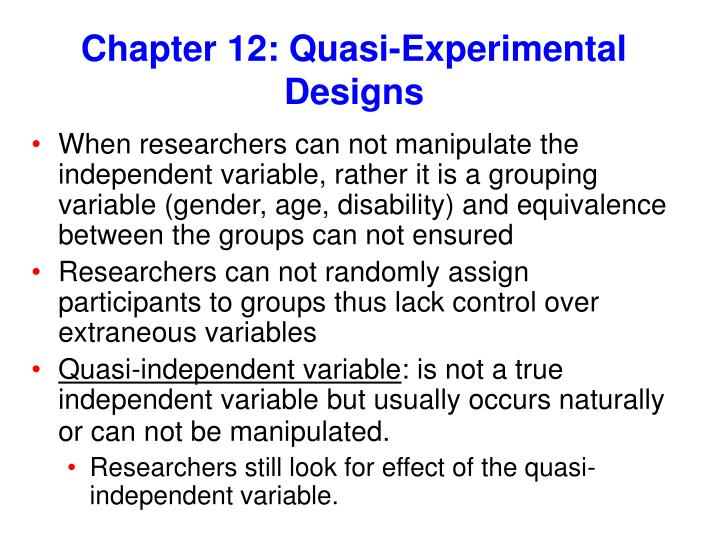 chapter 12 quasi experimental designs n.