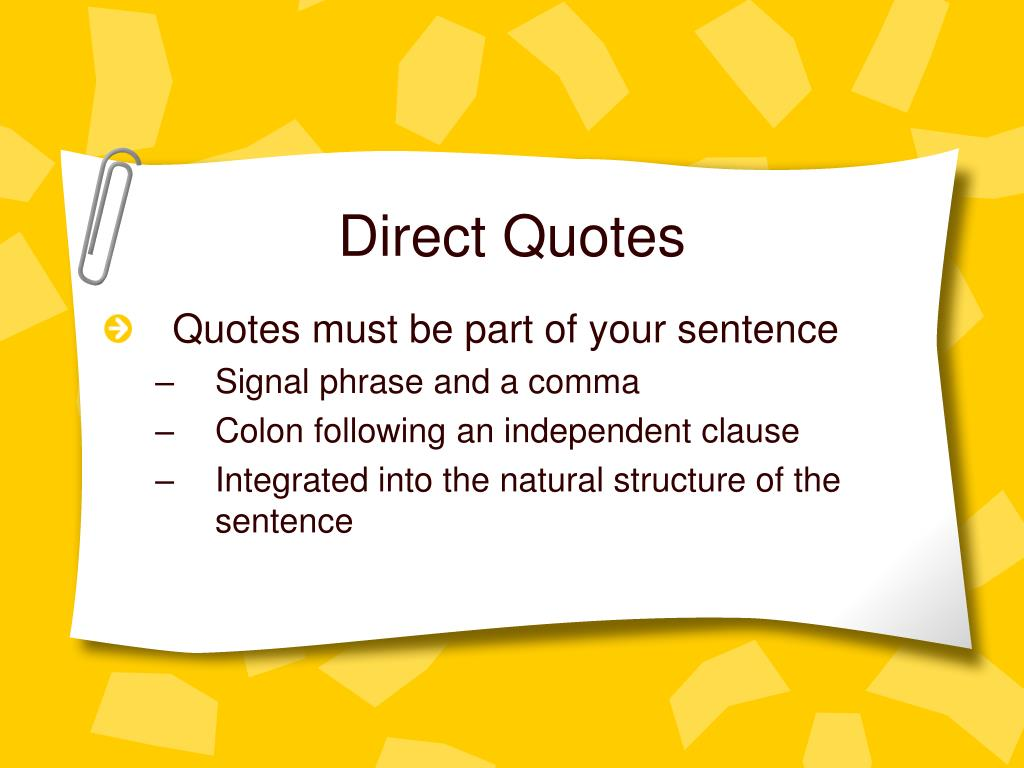 PPT - Direct Quotes PowerPoint Presentation, free download ...