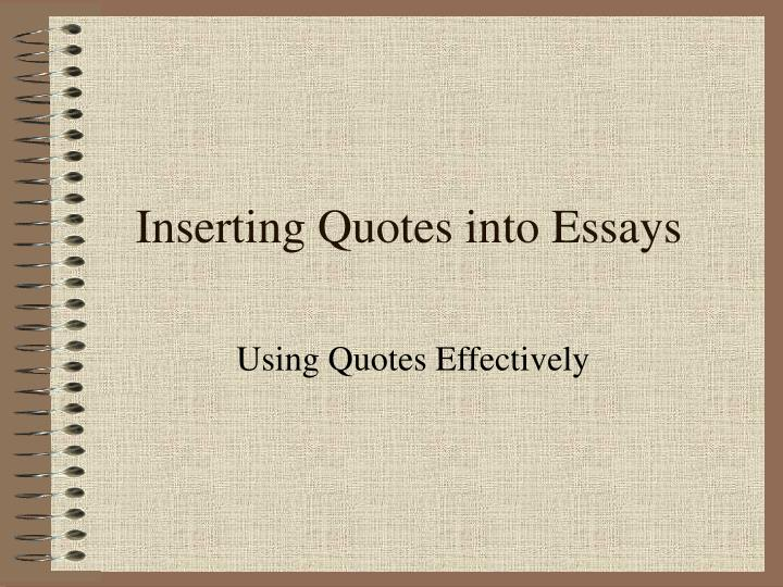inserting quotes into essays n.