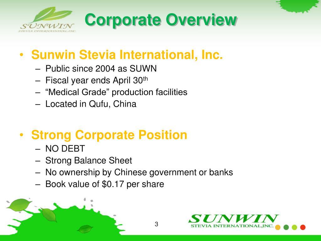 Sunwin Stevia Intl Inc
