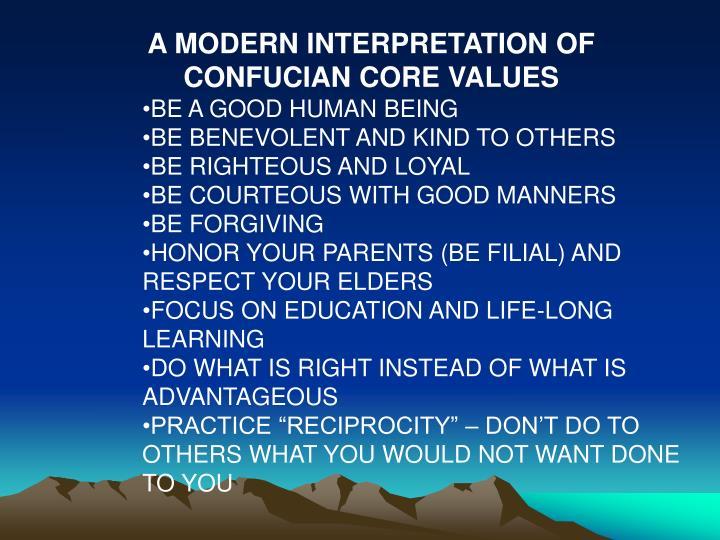 A MODERN INTERPRETATION OF