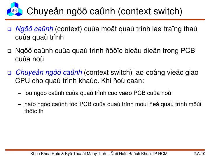 Chuyeån ngöõ caûnh (context switch)