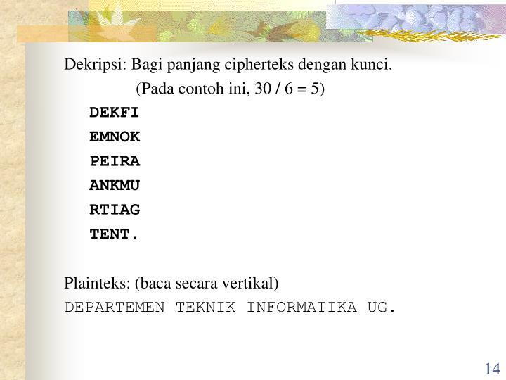 Dekripsi: Bagi panjang cipherteks dengan kunci.