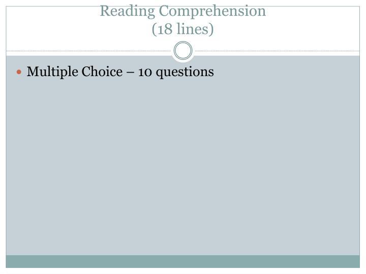 Reading comprehension 18 lines
