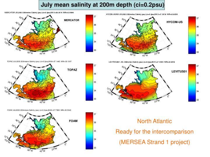 July mean salinity at 200m depth (ci=0.2psu)