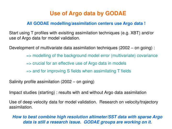 Use of Argo data by GODAE