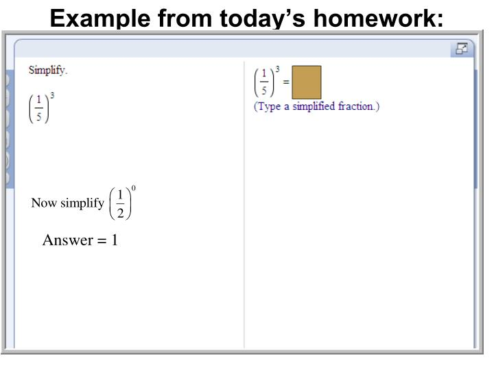 Example from today's homework: