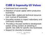 c2be ingenuity us values