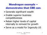 mondragon example demonstrates that cbe can