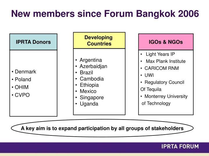 New members since Forum Bangkok 2006