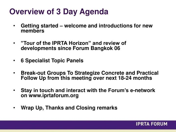 Overview of 3 Day Agenda