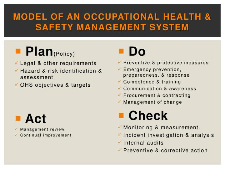 Model of an occupational health & safety management system
