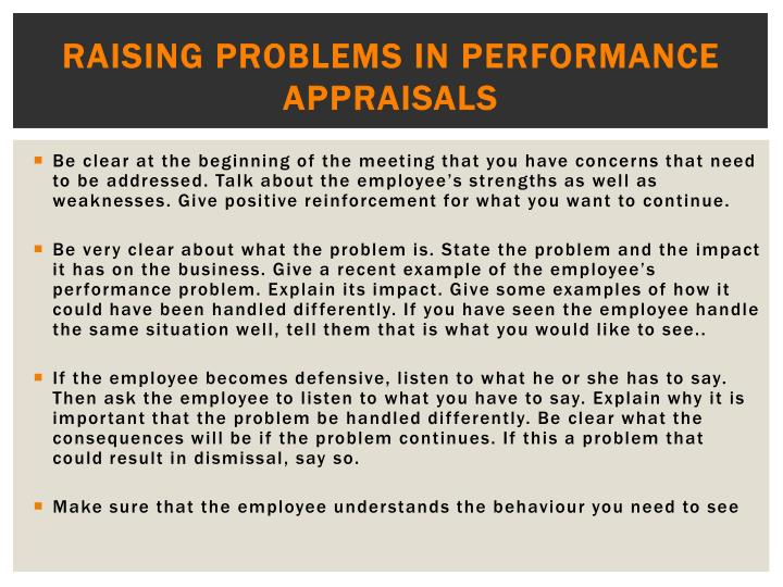 Raising problems in performance appraisals