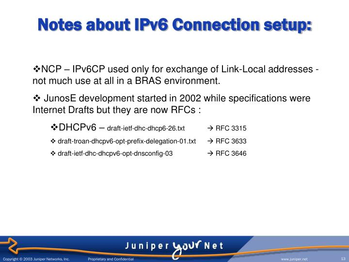 Notes about IPv6 Connection setup: