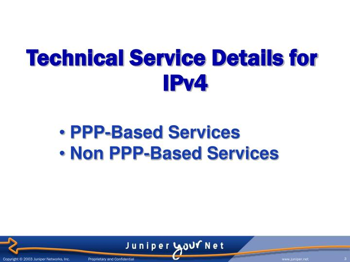 Technical service details for ipv4