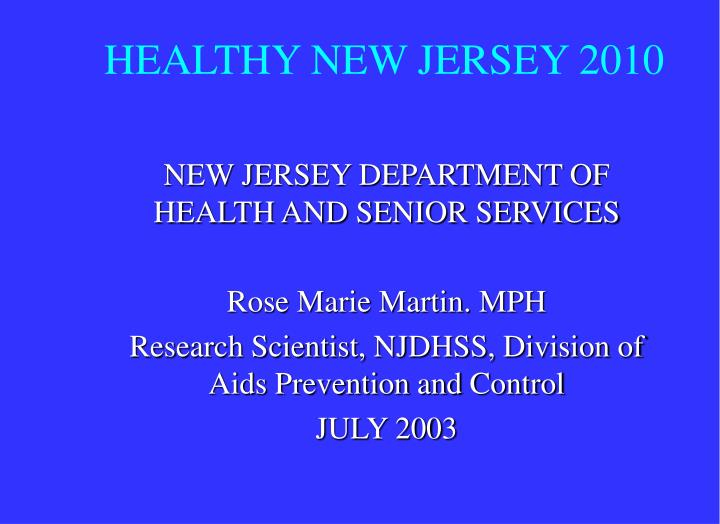 healthy new jersey 2010 n.