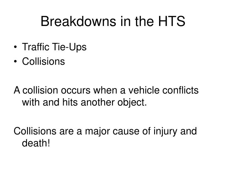 Breakdowns in the HTS