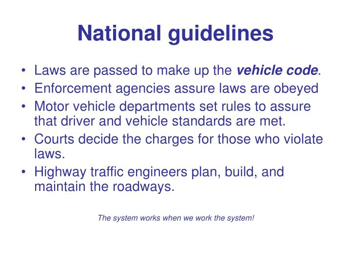 National guidelines