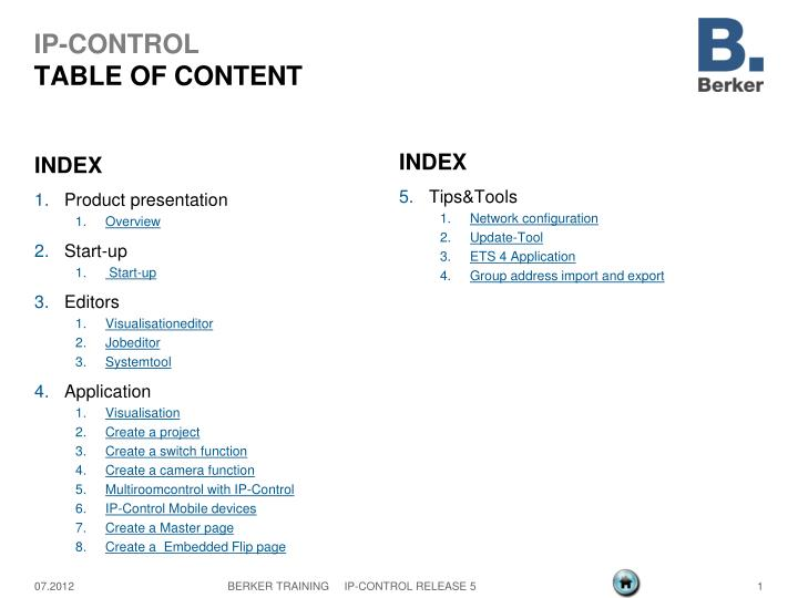 ip control table of content n.