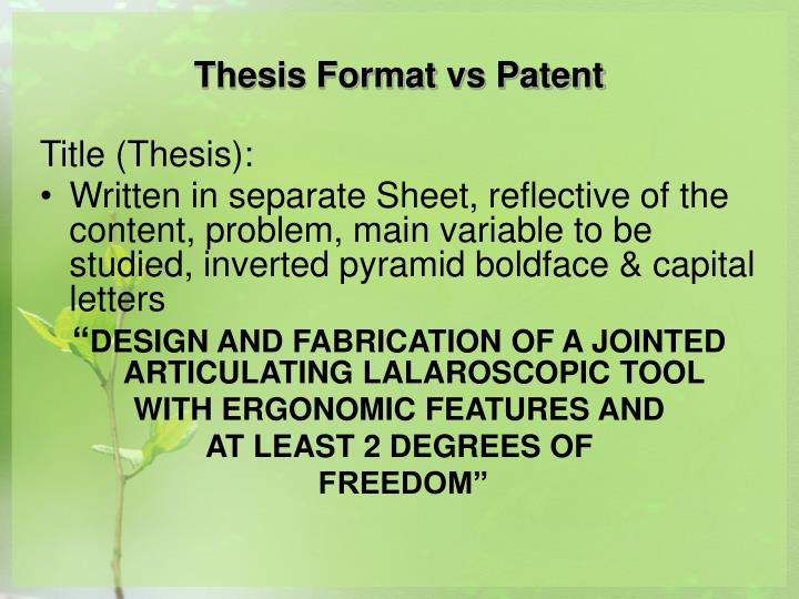 patent thesis Such information is analyzed using about 270,000 patents and thesis data from 2005 to 2017 such information can be very useful for researchers, professors, public officials and planners engaged in research and development, planning, policy and lectures.
