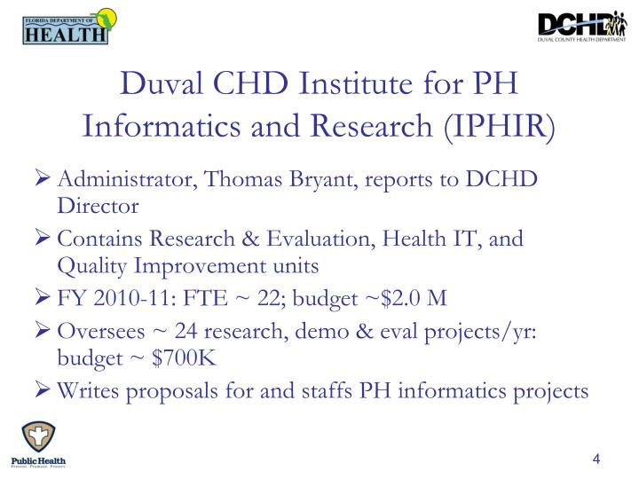 Duval CHD Institute for PH Informatics and Research (IPHIR)