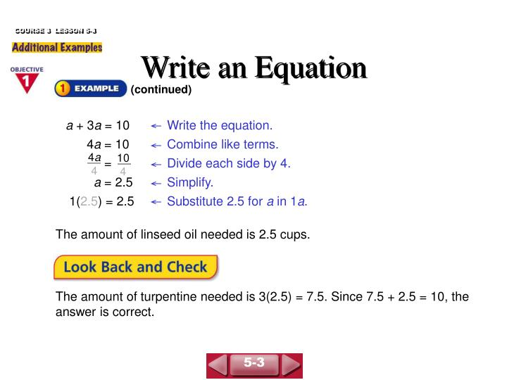 Write an equation2