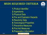 msds required criteria