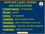 supplier label design and application