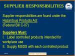 supplier responsibilities