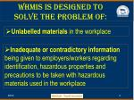 whmis is designed to solve the problem of