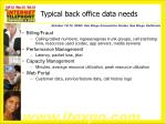 typical back office data needs