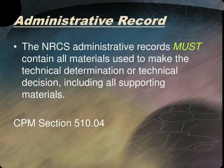 Administrative Record