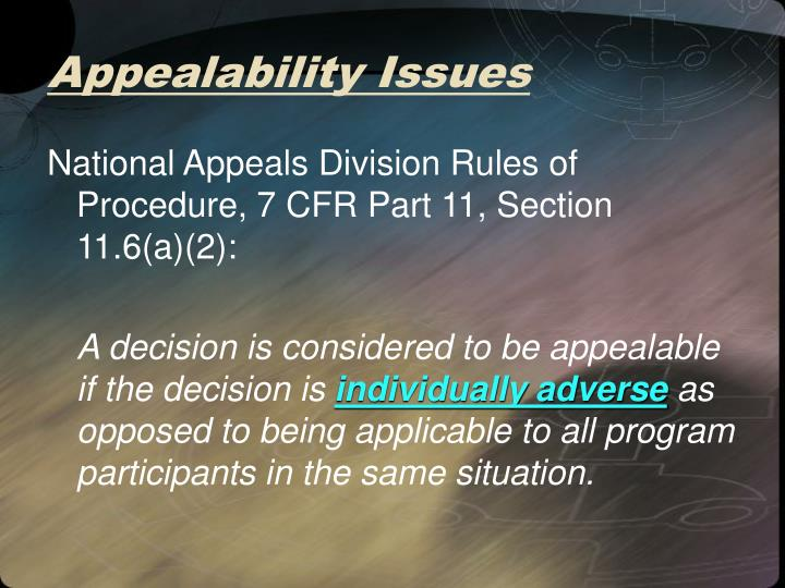 Appealability Issues