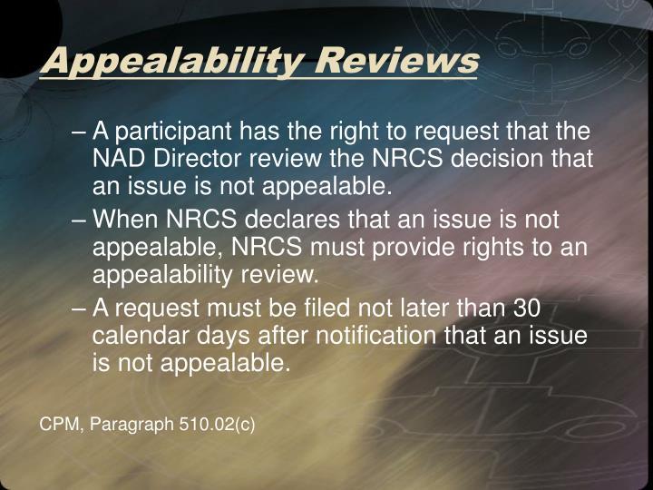 Appealability Reviews