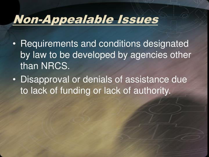 Non-Appealable Issues