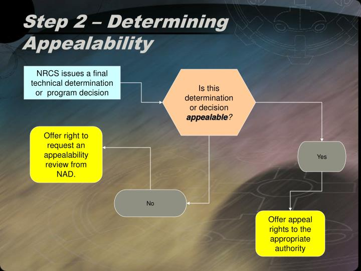 Step 2 – Determining Appealability