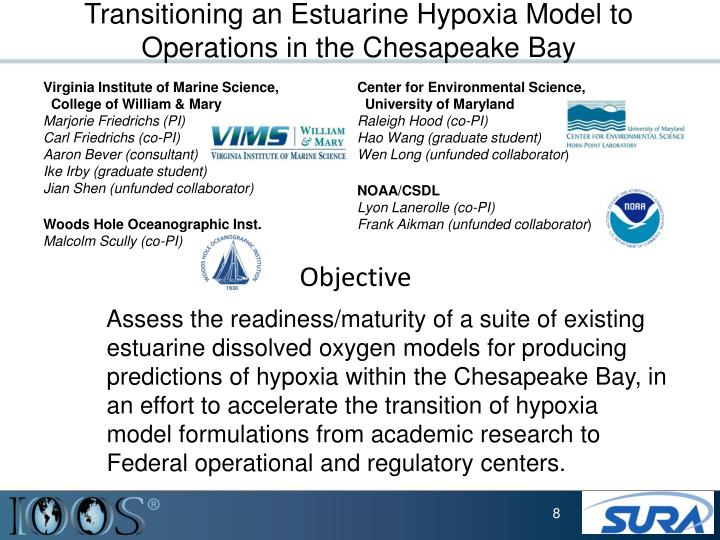 Transitioning an Estuarine Hypoxia Model to Operations in the Chesapeake Bay