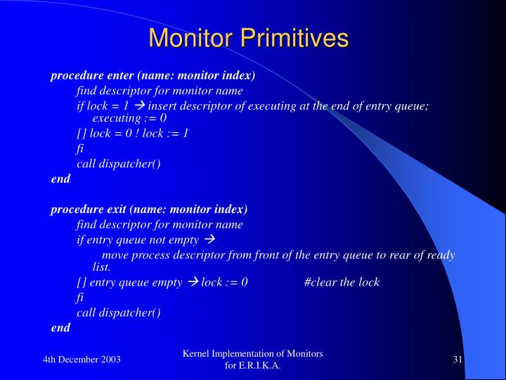Monitor Primitives