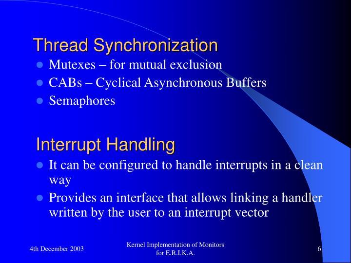 Thread Synchronization
