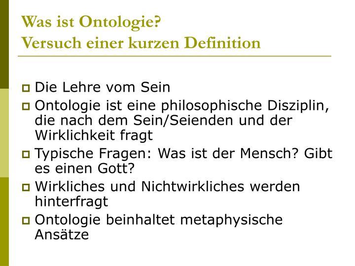 Was ist ontologie versuch einer kurzen definition