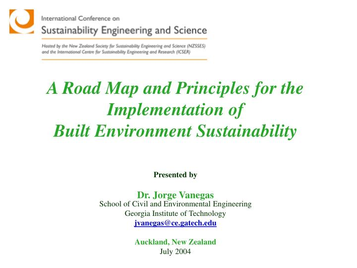a road map and principles for the implementation of built environment sustainability n.