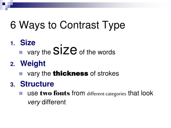 6 ways to contrast type