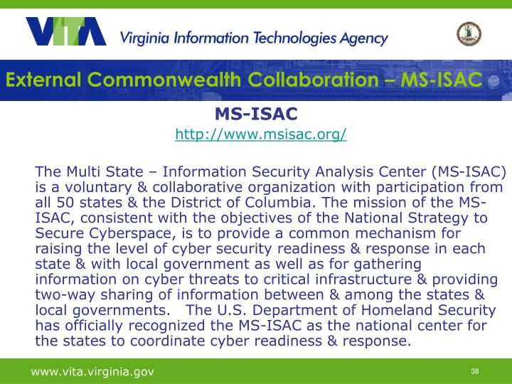 External Commonwealth Collaboration – MS-ISAC