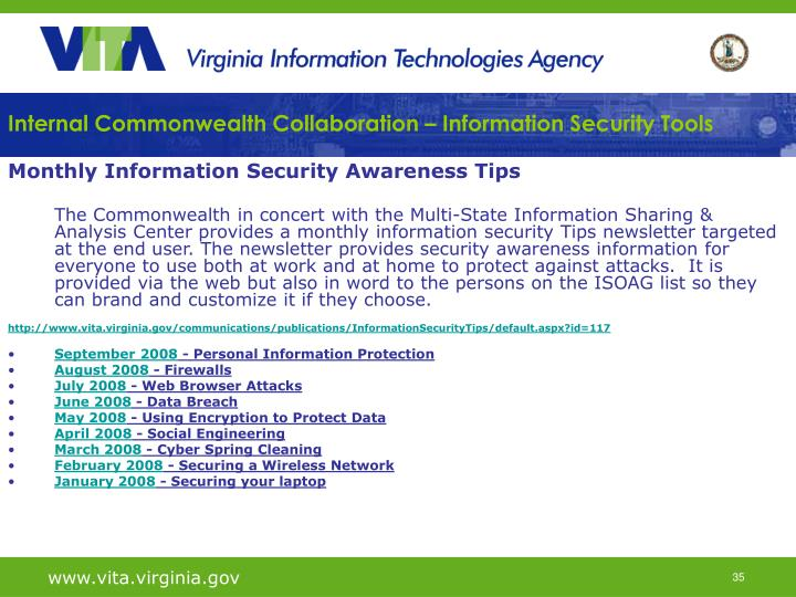Internal Commonwealth Collaboration – Information Security Tools