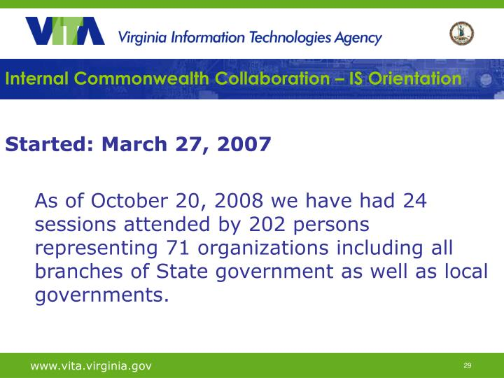 Internal Commonwealth Collaboration – IS Orientation