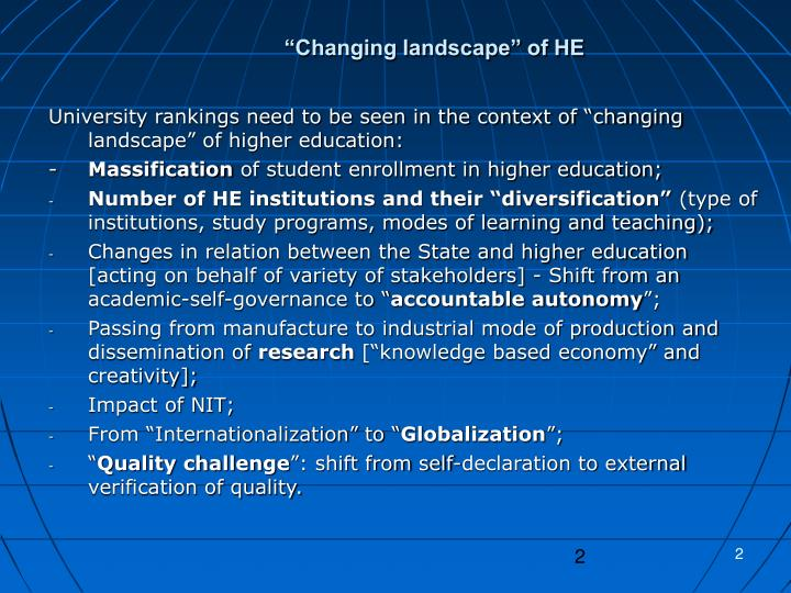 """Changing landscape"" of HE"
